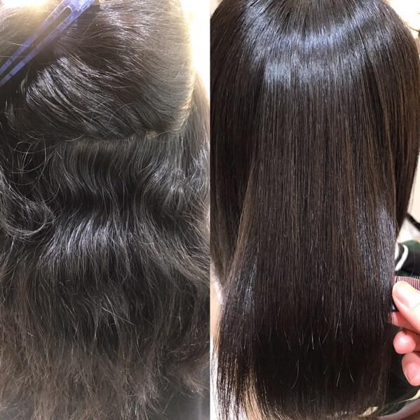 縮毛矯正前と後の写真