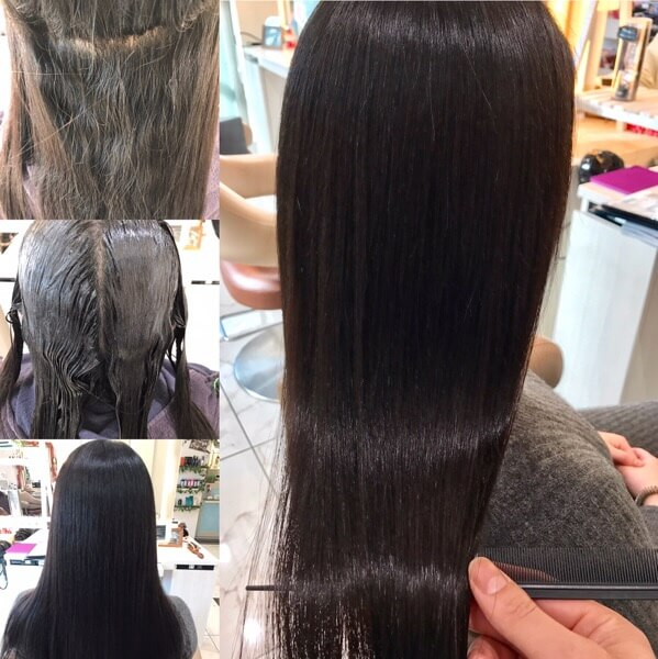 縮毛矯正前から縮毛矯正後の写真
