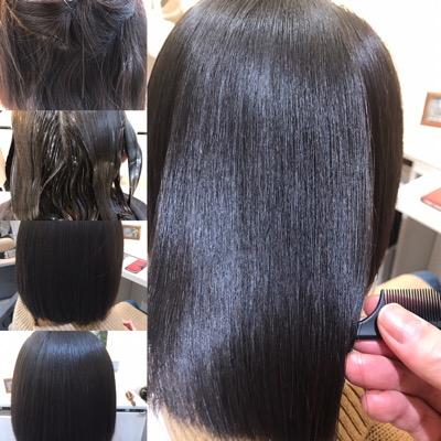 縮毛矯正前から縮毛矯正後までの写真