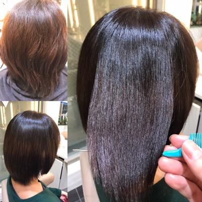 縮毛矯正前から縮毛矯正後までの髪