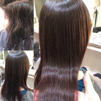 縮毛矯正前から縮毛矯正後の髪の写真
