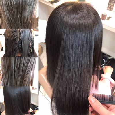 縮毛矯正前から縮毛矯正後のヘアスタイル写真