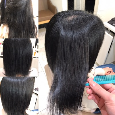 縮毛矯正前から縮毛矯正後のヘアスタイル
