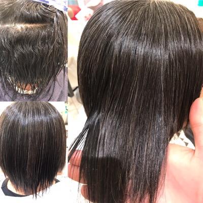 縮毛矯正前から縮毛矯正後の綺麗な髪