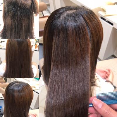 縮毛矯正前から縮毛矯正後の髪