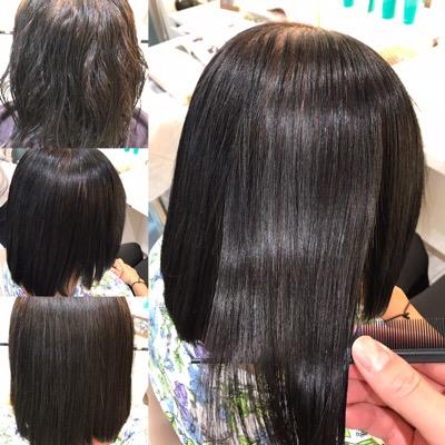 髪質改善縮毛矯正前から髪質改善縮毛矯正後の髪
