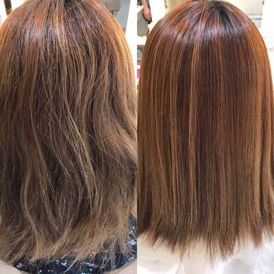 縮毛矯正前と縮毛矯正後の髪
