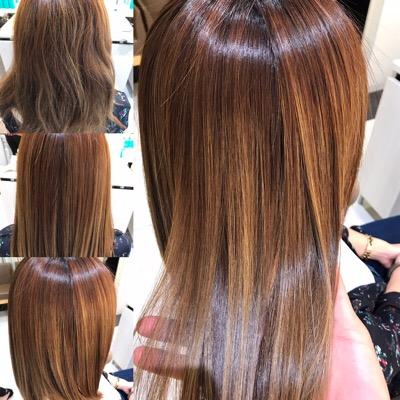 髪質改善縮毛矯正前から髪質改善縮毛矯正後の写真
