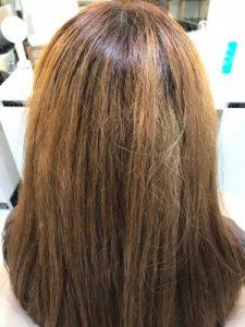 ブリーチ毛に縮毛矯正をかける前の状態