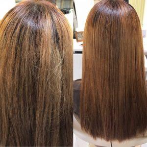 ブリーチ毛に縮毛矯正かけた比較写真