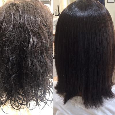 縮毛矯正前と後を比べた写真