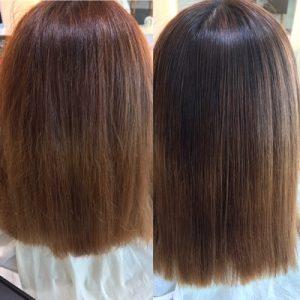 ブリーチ縮毛矯正のかける前と後の写真