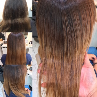ブリーチ縮毛矯正のかける前からかけた後の髪