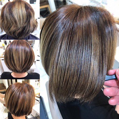 ブリーチ毛に縮毛矯正をかける前から後の髪の状態