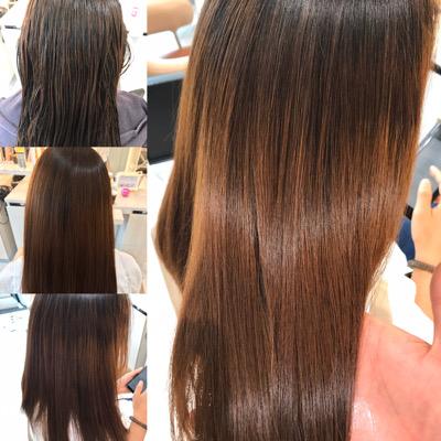 髪質改善トリートメント前から後の髪