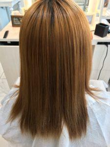 縮毛矯正後、髪質改善トリートメントアイロン前の状態