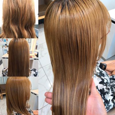 ブリーチ縮毛矯正前から髪質改善トリートメント後の髪