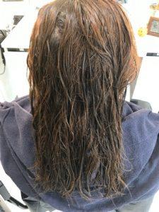 明るめの髪に縮毛矯正をかける前の状態