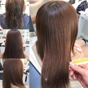 ハイトーン(明るめ)の髪に縮毛矯正をかける前から、かけた後の状態