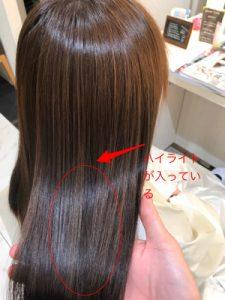 ブリーチハイライト縮毛矯正の仕上がりの写真
