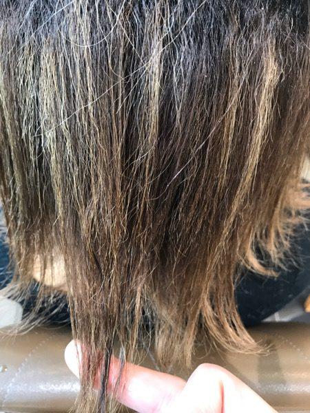 ハイライトの入っている髪の毛先の写真