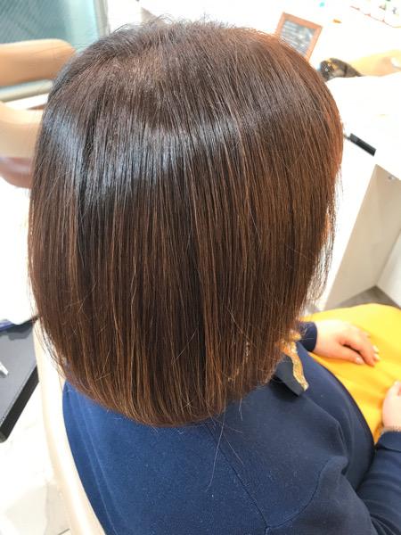 カラー、髪質改善トリートメント後の仕上がり