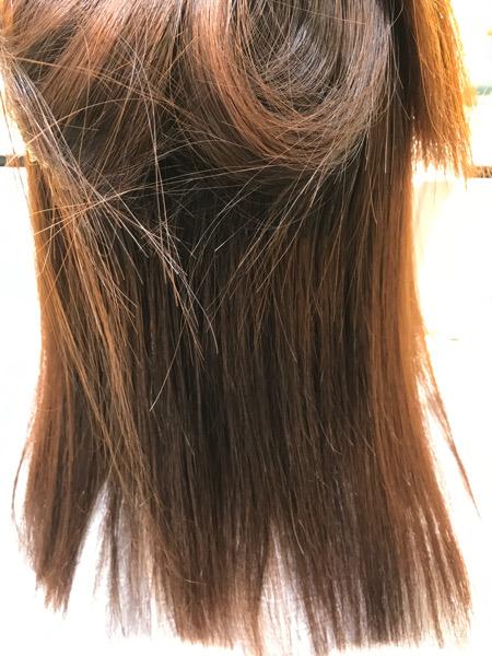 縮毛矯正終了後、乾かした状態