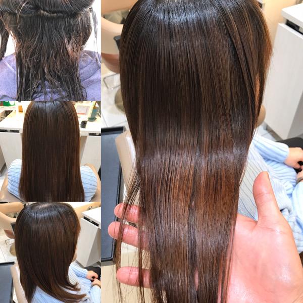髪質改善トリートメントと縮毛矯正をした写真