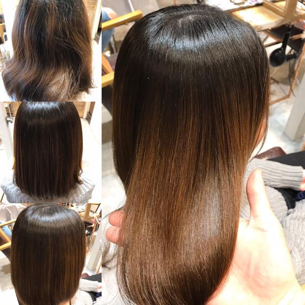 縮毛矯正前から縮毛矯正後の髪の状態