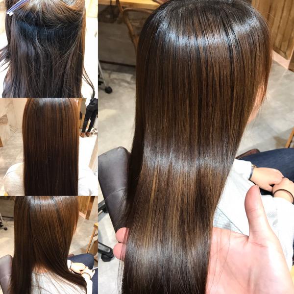縮毛矯正をかける前からかけた後の髪
