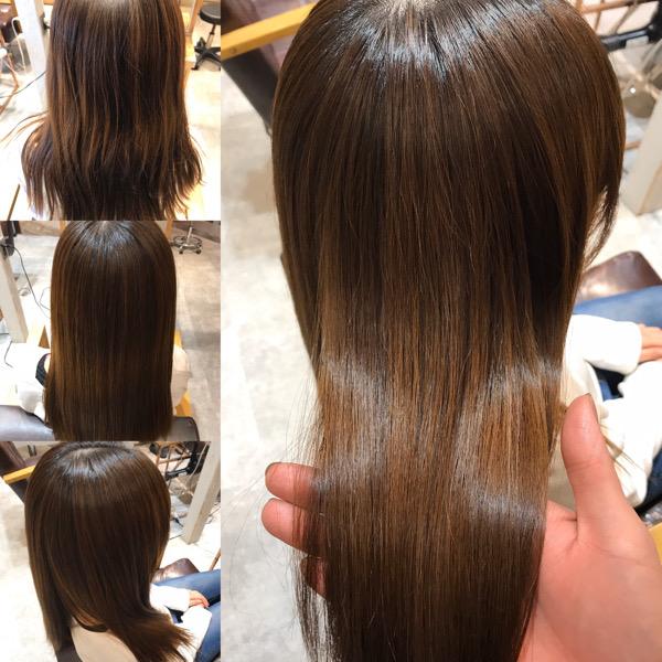 カラー毛に縮毛矯正をかける前からかけた後の様子