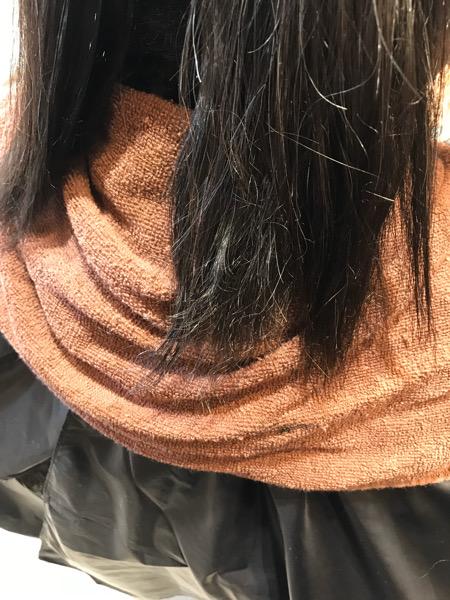 中間、毛先のザラつきの写真
