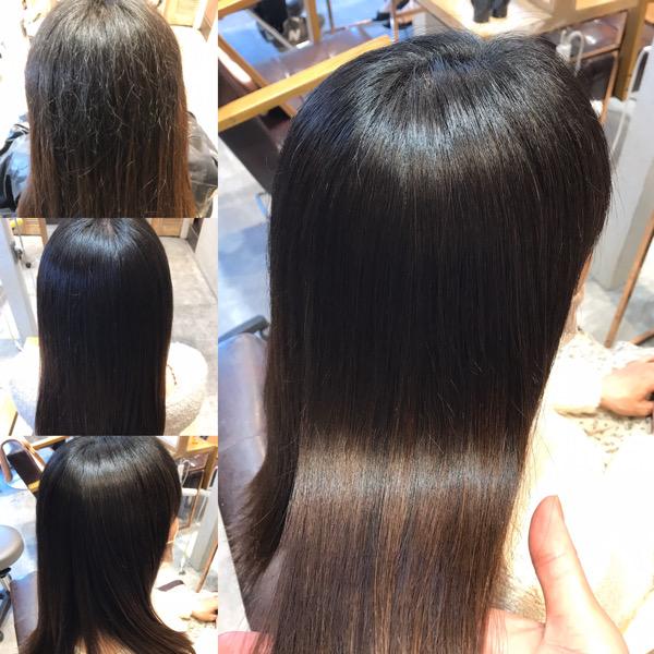 縮毛矯正をかける前からかけた後の髪の状態