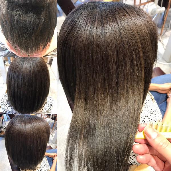 縮毛矯正と髪質改善トリートメントをやる前からやった後の髪の状態