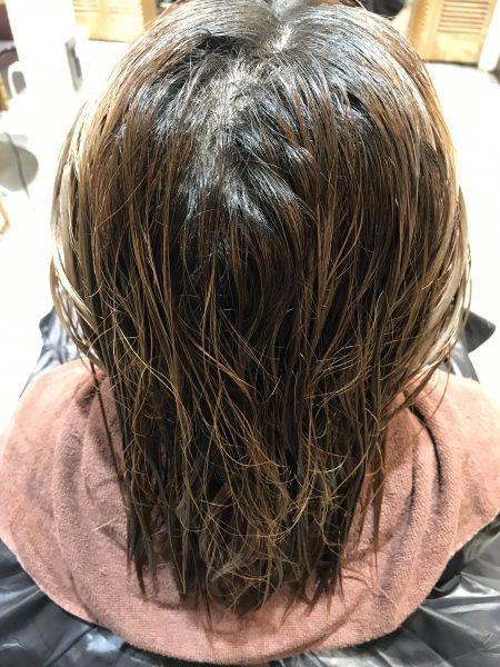 ブリーチ髪に縮毛矯正をかける前の状態
