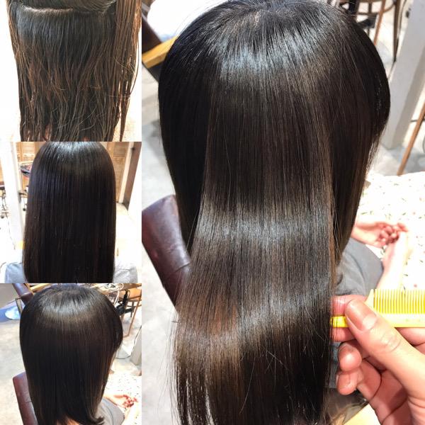 縮毛矯正+髪質改善トリートメント+カラーをやる前からやった後の髪の様子