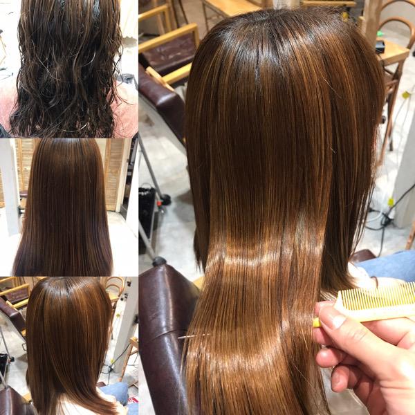 縮毛矯正と髪質改善トリートメントをやる前の髪とやった後の髪の状態