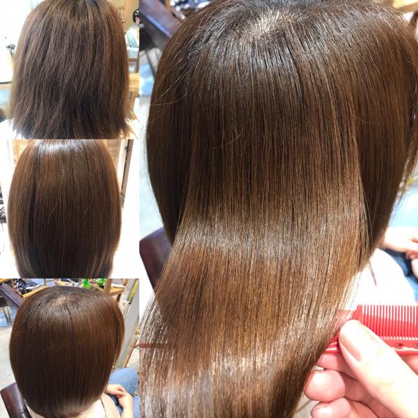 チリチリする髪に縮毛矯正をかけた写真