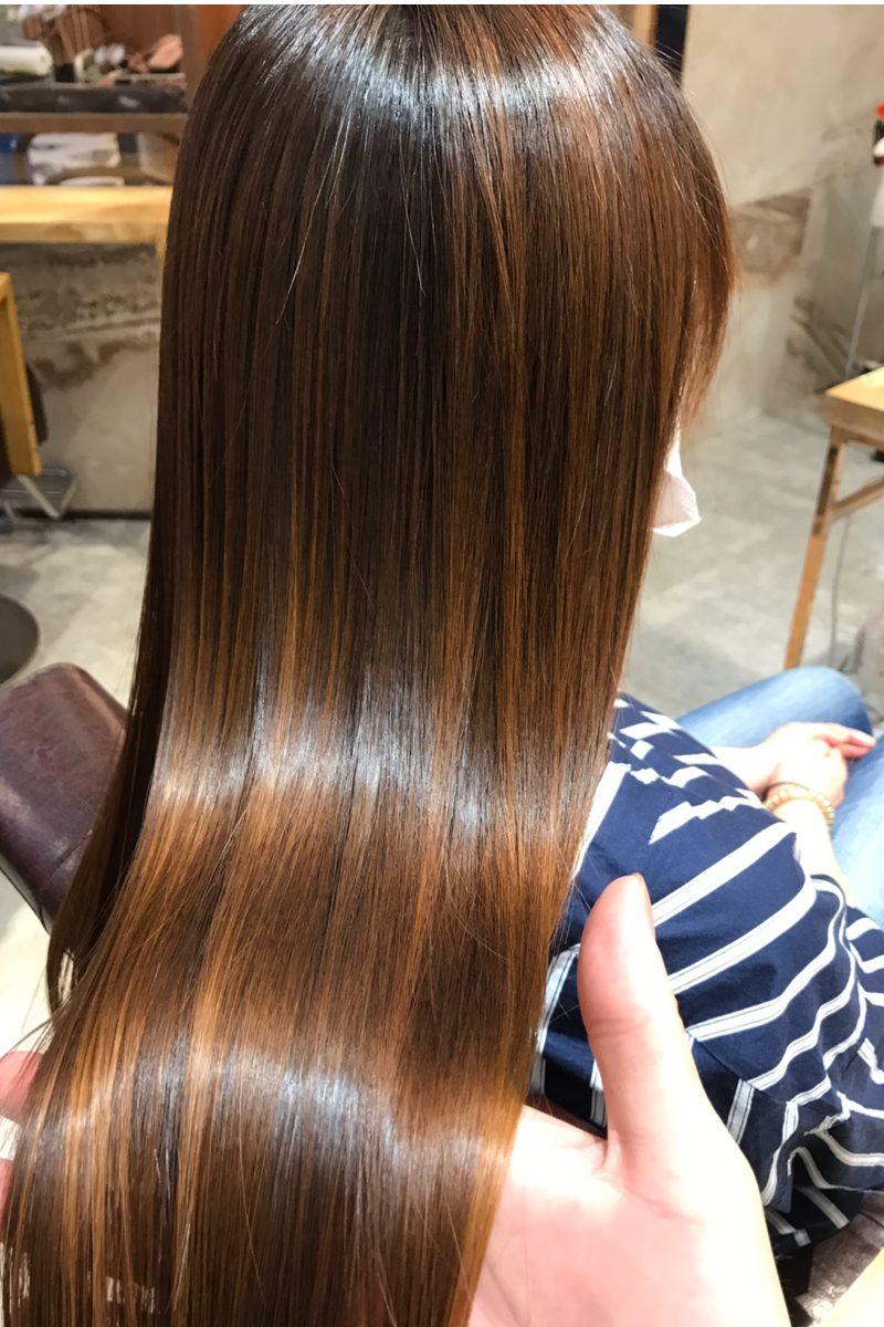 髪質改善トリートメントを施術した髪