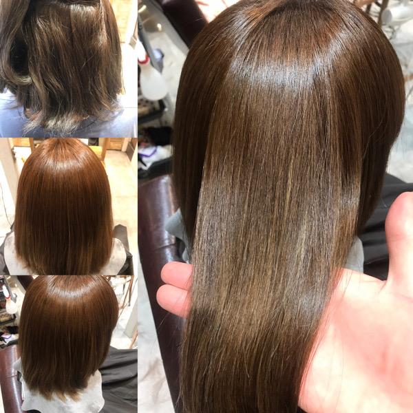 ハイライト縮毛矯正のかける前からかけた後の髪の状態