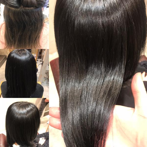 縮毛矯正、髪質改善トリートメント、カラーの仕上がり画像