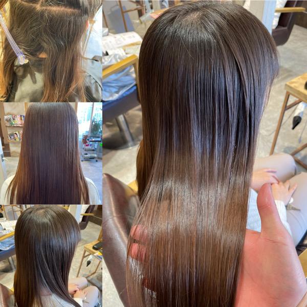 縮毛矯正と髪質改善トリートメントをした髪の写真