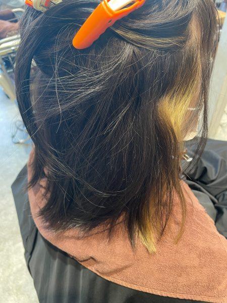 インナーカラーに縮毛矯正をかける前の髪の状態(サイドバック)