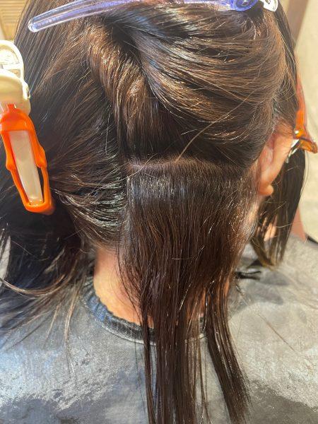 アイロンを入れる前の髪