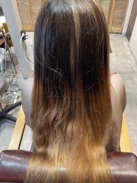 ブリーチ縮毛矯正をやる前の髪の状態