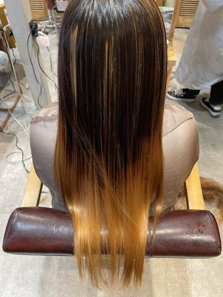 ブリーチ縮毛矯正のアフター写真