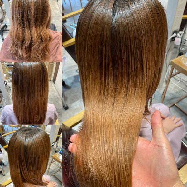 ブリーチ毛に縮毛矯正&髪質改善トリートメントをした髪の写真