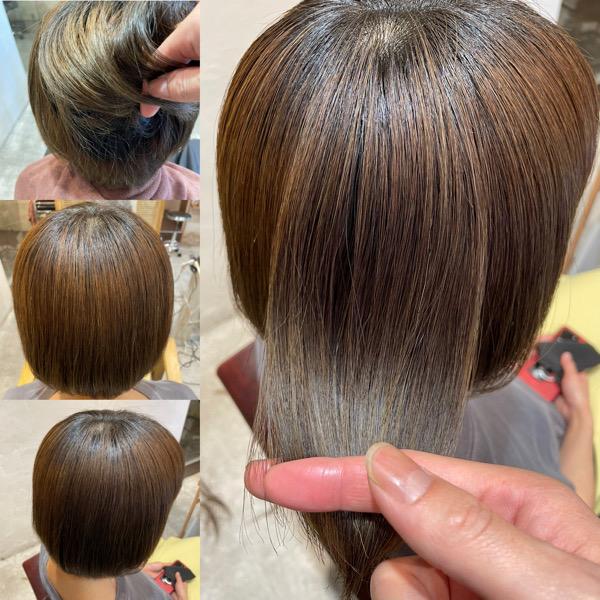ブリーチ毛に縮毛矯正&髪質改善トリートメントをした髪の状態