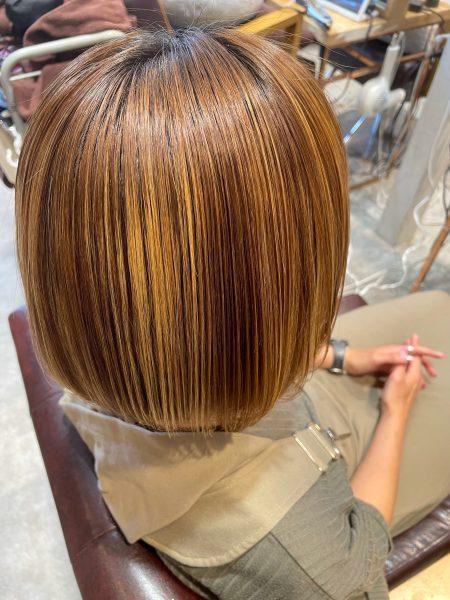 縮毛矯正と髪質改善トリートメントをした髪(サイドバック)