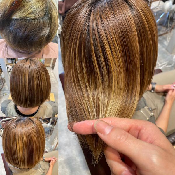 ハイライトが入っている髪に縮毛矯正と髪質改善トリートメントをした様子